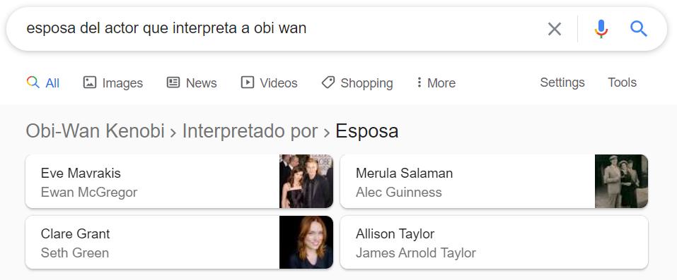 Ejemplo búsqueda - esposa del actor de Obi Wan