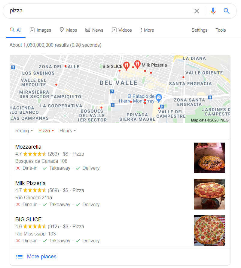 Ejemplo búsqueda - pizza